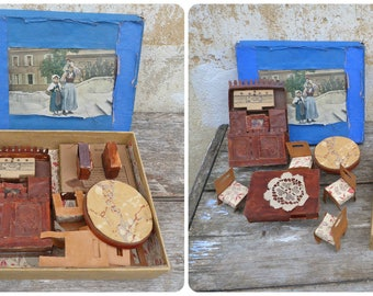 Vintage Antique 1920/1930s  French naive homemade set of furnitures for a doll / Mignonette