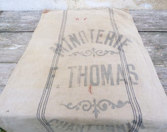 Vintage Antique 1833 French linen bag  Flour bag Grain sack/Feed sack /Flour sack  Vendee