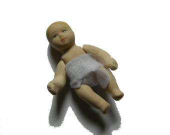 Antique  articulated  little doll baby. Antique French Miniature Bisque Doll. French Mignonette. Porcelain Figurine Doll.