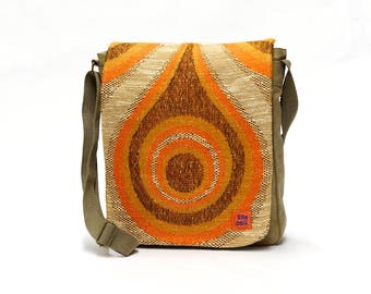 Vintage Fabric Upcycled Canvas Bag - Messenger Bag - Crossbody Bag - 70s Retro Bag by EllaOsix