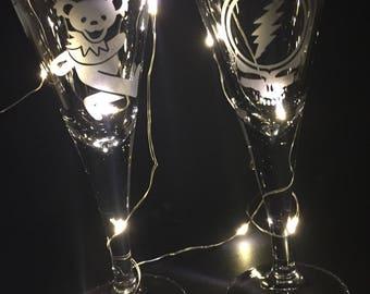 Grateful Dead Stemmed Shot Glass sandblast etched Dancing Bear and SYF set of 2