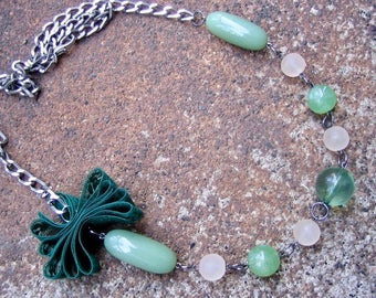 Eco-Friendly Boho Statement Necklace - Babe in the Woods - Recycled Vintage Chain, Beads and Lace in Mint and Forest Green and Frosted White