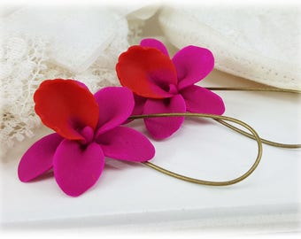 Pink Orchid Earrings - Pink Orchid Drop or Dangle Earrings, Pink Orchid Jewelry