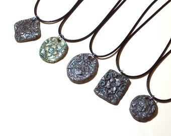 Ceramic Pendant Your Choice Boho Magical Ancient Verdigris Patina Bronze Stoneware Necklace Tribal Rustic Relic Jewelry Adjustable Neck Cord