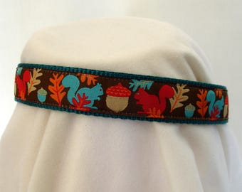 Squirrel Dog Collar - 1 Inch Wide - Medium to Large - Adjustable Between 14-23 Inches - Fall Dog Collar - Acorns - Leaves - READY TO SHIP