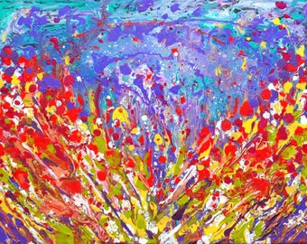 Poppies meadow colorful vibrant abstract painting on sale