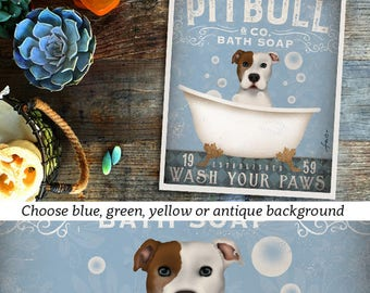 pit bull pitbull  dog bath soap Company vintage style artwork by Stephen Fowler Giclee Signed Print