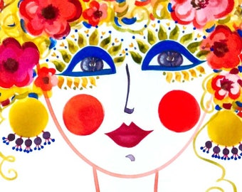 Meet Primavera! - Gypsy Garden Girl - Carmen Miranda Inspired Face - Print from Original Watercolor Painting by Suzanne MacCrone Rogers