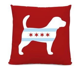 Chicago Flag Beagle Pillow - Chicago Home Decor - Beagle pillow - dog breed silhouette pillow - dog home decor - Beagle Lover Gift