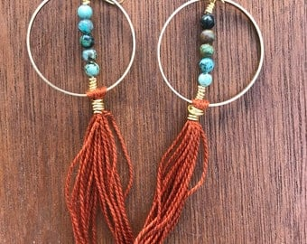 Jade and rust fringe hoops