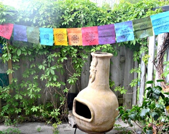 block print prayer flags. mandala and lotus prints