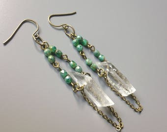 raw quartz crystal earrings with speckled turquoise faceted glass beads/antiqued brass