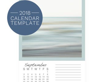Calendar Template 2018 - Photo Desk Calendar - 2018 Calendar Template - 2018 5x7 Calendar - Blank Calendar - DIY Photo Calendar Template