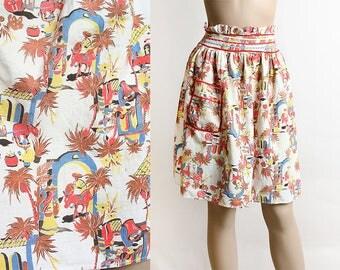 Vintage 1940s Apron - Novelty Print Mexican Theme - Burro Cactus Mexico City Village Scene - Cotton Ruffle Pocket Half Apron Skirt