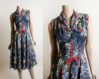 Vintage 1950s Dress - Novelty Print Tropical Island Mexican City Scene Cliff Divers Village Town Surfing Tourist Corset Dress - Small