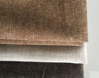 Linen Fabric, Essex Yarn Dyed Linen fabric bundle, Dress Fabric, Toddler Dress Fabric, Quilt Bundle, Robert Kaufman, Fabric bundle of 3