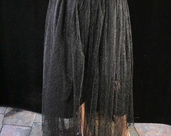 SALE Asymmetrical lace Victorian Black handkerchief chic goth gothic style skirt topper alternative - Ready to ship - Small - Sisters of the