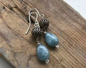 Blue Aquamarine Earrings With Silver Filigrees Sterling Silver Wire Wrapped March Birthstone Jewelry Beachy Gifts Under 40 Gemstone Earrings
