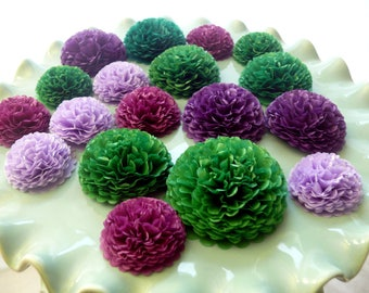 Green And Purple Button Mums Tissue Paper Flowers, Small Paper Flowers, Wedding Flowers, Shower Decorations, Green Flowers, Purple Flowers
