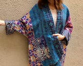 Colorful silk reversible plus size kimono jacket