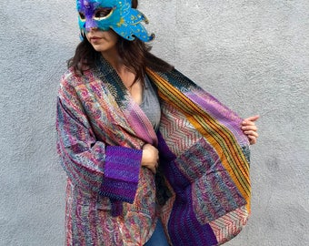 Plus size silk kantha reversible kimono
