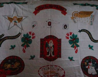 Christmas Joy to the World Visions of Sugar Plums Applique Fabric Panel