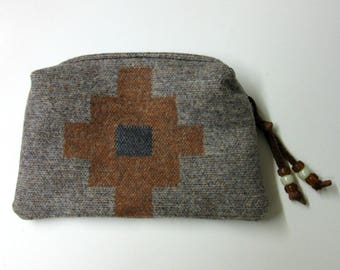 Wool Zippered Pouch Coin Purse Change Purse Accessory Organizer Native American Print Wool from Pendleton Oregon