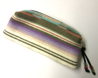 Wool Zippered Pouch Pencil Case Purse Organizer Cosmetic Accessory Bag Pastel Blanket Wool from Pendleton Oregon