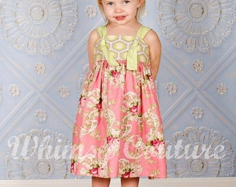SALE How to make a knot dress with tie bands sewing pattern sizes newborn through 12 girls PDF