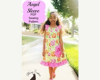 SALE Angel Sleeve Pattern Top and Dress nb-12 girls Instant Download
