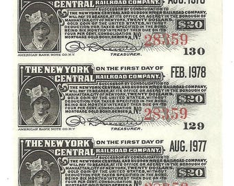 90 Old 1910's-20's RAILROAD Bond Coupons - 10 SHEETS - New York CENTRAL Railroad Bonds