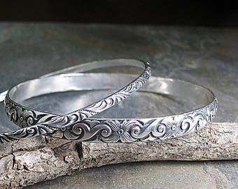 Stacking Bangles Pattern Wire Sterling Silver Flower Dogwood  - Dogwood Spring