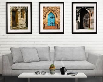 Collection of 3 Prints, Old Doors, England Photography, British Photo Set, Art Collection, Living Room Decor, United Kingdom Architecture