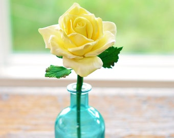 Single Stem Handcrafted Clay Yellow Rose in Bud Vase
