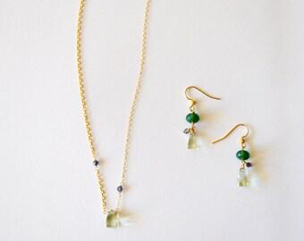 Wedding Jewelry Set / Simple Modern Geometric Green Amethyst Pyramid Pendant 14k Gold Chain Necklace Earring Set Blue Tanzanite Gemstones
