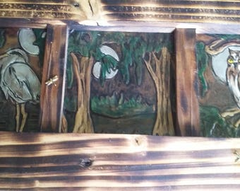 Framed Tri-paneled Swamp. Decor