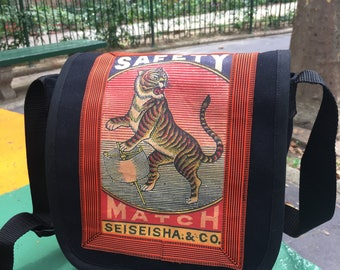 Vintage Japanese Tiger Canvas Messenger Bag, Matchbox Art Day Bag, Courier Bag