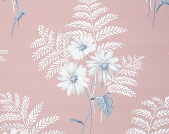 1940s Vintage Wallpaper by the Yard - White Daisies and Ferns with Blue Leaves on Pink Background, Floral Wallpaper