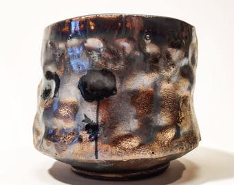wood fired cup with gold and poppies