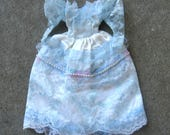 Barbie Clothes Light Blue Pink and White Lace Dress