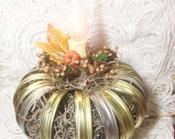 Pumpkin Lamp, Electric flicker bulb, canning rings, autumn, housewarming, wedding gift, fall decor, Moeggenborg Sugar Bush
