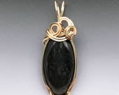 Nuummite 14k Yellow and Rose Gold Filled Wire Wrapped Pendant - Ready to Ship!