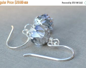 ON SALE Silver Deco Earrings, Sterling Silver French Hook, Art Deco, Dainty Crystal Earrings, Bridesmaid Jewelry, Bridal Collection