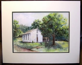 Original Watercolor Painting - 16x20 with Mat  - One Room School House - Historical Painting - History - Franklin School