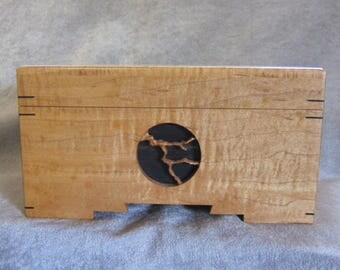 Jewelry Box with tray Curly Maple Wood Handmade by sewelsonwoodcraft