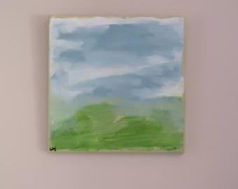blue skies- arcylic painting 12 x 12 original