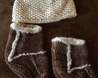 Infant hat and booties, hand knit infant cap and bootie approx 3-6 months UGG  style booties