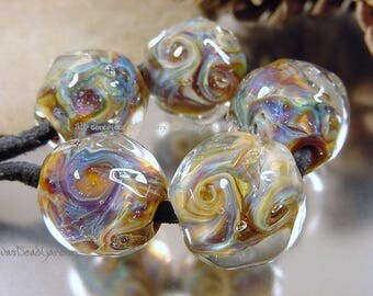 Handmade lampwork glass beads, Artisan glass beads, blue beads, purple beads, aqua beads, organic beads, gold beads, SRA lampwork beads
