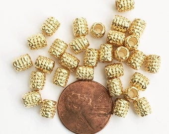 Bulk 300 pcs of gold tone tube spacer beads 6x5mm,  bulk alloy spacer beads with 3mm hole