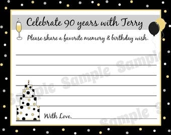 75 Birthday Advice Cards  -  ANY AGE  - Any Colors -  40th 50th 60th 75th Birthday, etc.